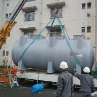 浄化槽設置施工手順の紹介-6:浄化槽本体据え付け その1